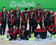 2016 USA Women's Olympic Basketball Gold Medal RIO Brazil 8x10 Team Photo #4