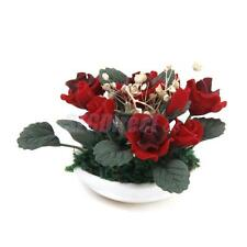 Dollhouse Miniature Clay Red Rose Flowers in Ceramic Planter Pot 1:12 Scale