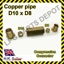 10x8mm Straight Compression Connector copper pipe Joint Coupling Gas Water Lpg