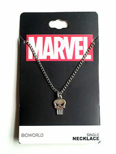 Marvel Comics PUNISHER SKULL Symbol Icon Logo, Silver Necklace Chain & Pendant