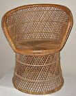 Wicker Peacock Fan Back Buri Chair vtg rattan/bamboo 70s High Back round natural