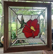 Stained Glass Window Panel Sun Catcher Hummingbird Flower Tiffany Style Framed