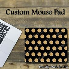 "Gold Polka Dots on Black Cool Mouse Pad 1/8"" thick-7.75""x9.25"" Gaming Mousepad"