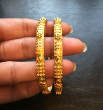 22k Solid Real Y Gold Handmade CC Set 2 Bangle Bracelet Stackable India 916 Slip