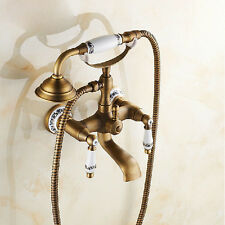 Wall Mounted Bathtub Mixer Tap Antique Brass Bath Faucet with Hand Shower