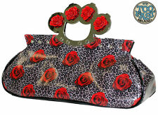 TOO FAST ROSES AND LEOPARD KNUCKLES PURSE BAG (B10C)