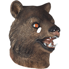 ADULT BROWN BEAR TEDDY CUB FOREST ANIMAL COSTUME LATEX MASK