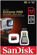 SanDisk Extreme Pro micro SD XC 64GB Class 10 UHS-II U3 275MB/s with Card Reader