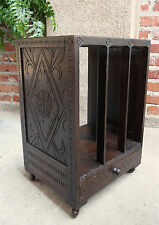 Antique English Carved Oak MAGAZINE BOOK RACK STAND Rolling Table Sheet Music