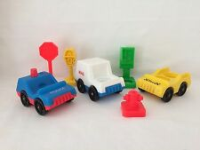 Vintage Fisher Price Little People Main Street Village Mail Truck Taxi Police