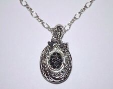 NEW $695 JOHN HARDY SILVER NAGA DRAGON PENDANT NECKLACE,BLACK SAPPHIRE 16-18IN