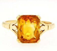Vintage 9Ct Yellow Gold Emerald Cut Citrine(2.33ct) Solitaire (Size R) 8x10mm