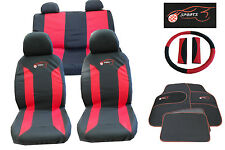 RED BLACK CLOTH CAR SEAT COVERS SET STEERING WHEEL GLOVE COVER MATS & PAD ka8105