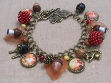 Acorn autumn bracelet in red, orange and gold, boho, handmade