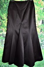 EVENING SKIRT MAXI FISHTAIL BLACK SATIN COCKTAIL GLAM CHIC FASHION GOTHIC 14