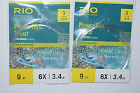 2 packs 3 pr pack rio powerflex trout tapered leader fly line 9' 6x 3.4lb flies