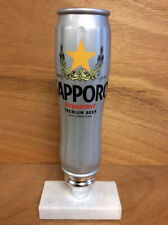 "Sapporo Premium Beer Silver Can Tap Handle  New & Free Shipping - 8.75"" tall"