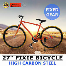 "27"" Bicicleta Fixie Fixed Gear Single Speed Urbano Alto Carbono Naranja GOOD"