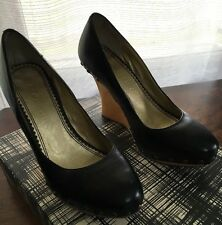 Womens Matiko Studded Black Leather Wooden Wedge Shoes Size 6