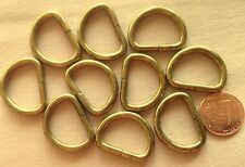 """Lot of 12 Brass Tone Metal D-rings Hair Over 1"""" 26mm # 7197"""