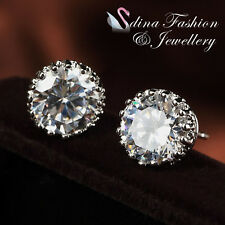 18K White Gold Plated Simulated Diamond 2.0 Carat Crown Stud Earrings