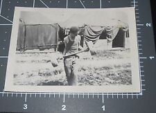 Muscle Man w/ Lifting Weight 1945 Soldier Army Vintage Exercise Equipment PHOTO