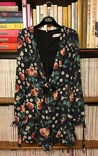 OH MY LOVE playsuit dress XS UK 6-8 1970s style navy ble floral print frill