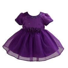 Satén Morado Dama De Honor Niña Niña Vestido Para Bautizo 6-9 Meses
