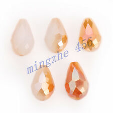 10x15mm Charms  Glass Crystal Faceted Teardrop Spacer Loose Beads Findings