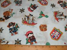 1 Yd. Children Quilt Fabric Pirates Ships Treasure Chest Parrot on Blue