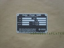 DODGE FARGO POWER WAGON TRUCKS 1972 1973  DATA PLATE M601 ID TAG