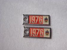 1976 QUEBEC Vintage PAIR Mini License Plate WAR AMPS KEY TAG #1643295