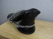 MENS 6 7/8 VINTAGE MUIR BLACK LEATHER MOTORCYCLE BIKER CAP HAT MEDIUM BRANDO