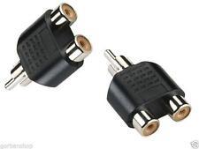 1x RCA Male to 2x RCA Female Audio Video Stereo Splitter Adaptor Socket B2