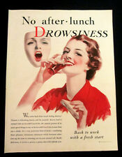 1933 Vintage Coke Coca-Cola lg clipping ad - No After Lunch Drowsiness