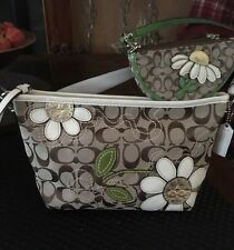 Coach Daisy Flower 14723 White Gold RARE Bag Tote & Wedge Wallet ID Case Set EUC