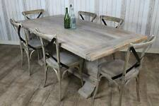 2M DISTRESSED RUSTIC LIMED ELM PEDESTAL DINING TABLE KITCHEN TABLE WHITE WASHED