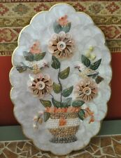 """Sea Shell Wall Art picture floral birds  Scalloped 18"""" x 11.5"""" Vintage"""