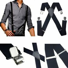 Mens Black Elastic Suspenders Leather Braces X-Back Adjustable Clip-on CHI