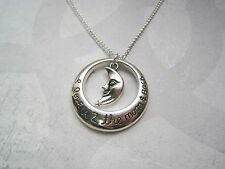 I LOVE YOU 2 THE MOON & BACK SP Ditsy Necklace 18 INCH chain GIFT BAG Crescent