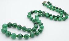 "Malachite Graduated Bead Vintage Necklace 27"" Long Glass Spacers"