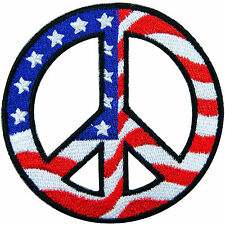 American USA Flag Love Peace Sign Hippie Boho Retro 70's Iron-On Patches #FL032