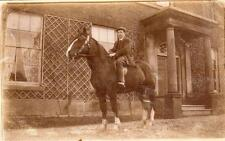 Man on Horse RP old pc used 1910 Little Haywood Nr Great Haywood Rugeley