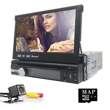 "Single 1Din 7"" Flip Up Car Stereo DVD CD Radio Player Touch Screen+Free camera"
