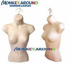 1 Female Mannequin Flesh Torso Form +1 Hook Hanger- Display Clothing Dress Shirt
