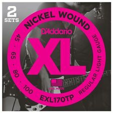 D'addario EXL170TP EXl170 Twin Pack Electric Bass Strings 2 sets 45-100 Light