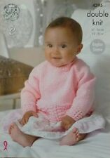 KNITTING PATTERN Baby Long Sleeve Round Neck Lace Hem Jumper DK King Cole 4395