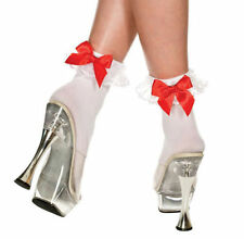 Womens Girls 50s  vintage Frilly Style Lace Trim Back Bow Ankle Socks Sox O/S