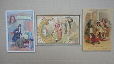 LOT 3 ANCIENNE IMAGE CHROMO CHICOREE CHOCOLAT POULAIN RICQLES GANTIER MOLIERE