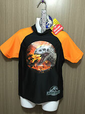 BNWT Boys Sz 4 Orange/Black Jurassic World Short Slve Swimming Rash Vest UPF 50+
